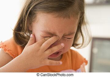 pige, indendørs, unge, græderi