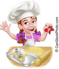 pige, køkkenchef, bagning, karakter, cartoon, barn, barnet