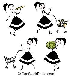 pige, karakter, købe mad