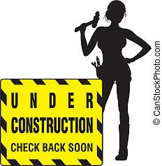 pige, konstruktion, -, arbejder, under