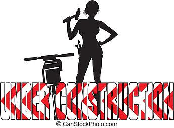 pige, konstruktion, -, under, arbejder