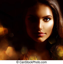 pige kvinde, skønhed, mystiske, portræt, sparks., gylden, mørke