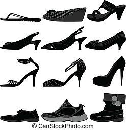 pige, kvinde, sko, kvindelig, footwear