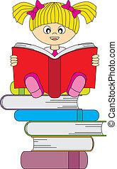 pige læse, en, bog