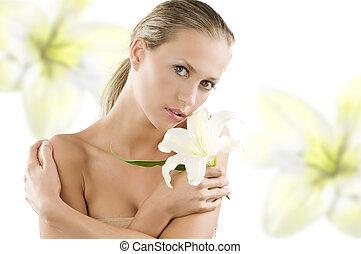 pige, lilje, lys