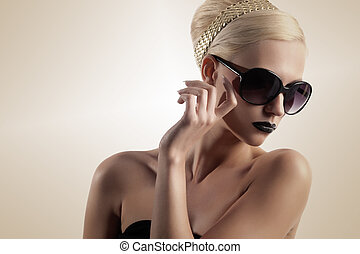 pige, lys, sunglasses