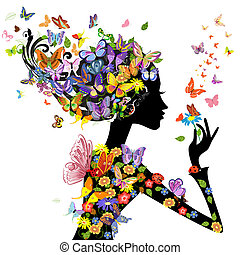 pige, mode, blomster, hos, sommerfugle