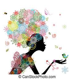 pige, mode, blomster