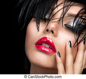 pige, mode, vivid, portrait., makeup, kunst