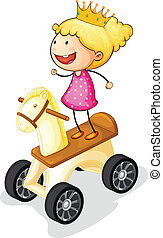 pige, på, legetøj hest