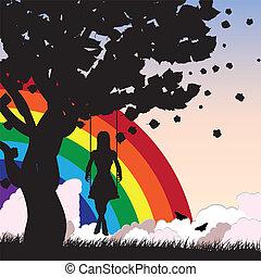 pige, på, svinge, og, regnbue