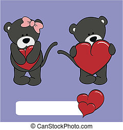 pige, panter, cartoon, valentine