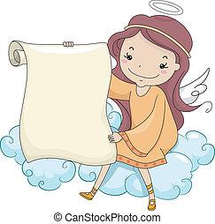 pige, scroll, holde, engel, blank