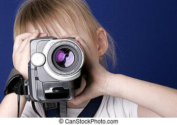 pige, skyde, video til hjem