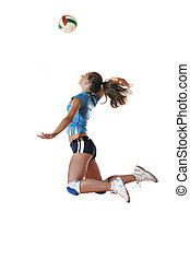 pige, spille volleyball