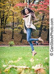pige, springe, græs, glade