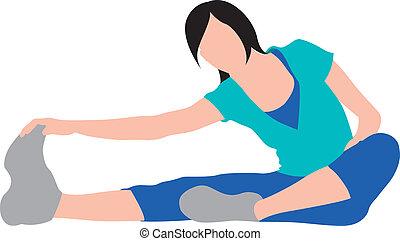 pige, strakte, exercising, illu