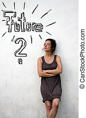 pige, tænkning, omkring, fremtiden