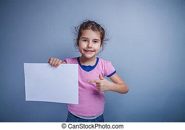 pige, tilsynekomst, barn, år, 6, rense, lagen, europæisk, rummer