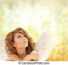 pige, ulykkelige, teenage, engel