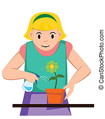pige, vanding, blomst