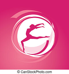 pige, vektor, gymnastikker