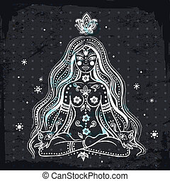 pige, vektor, mediter