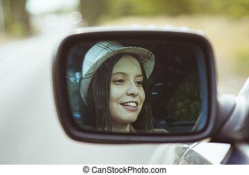 pige, vognen, kørende