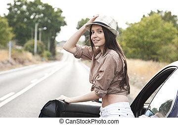 pige, vognen, udendørs