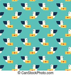 pigeon and letter pattern - Seamless pattern with pigeon and...