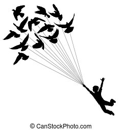 Pigeon boy - Vector silhouette of a boy carried by flying ...