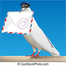 pigeon carrier - white carrier pigeon with pilot cap and...