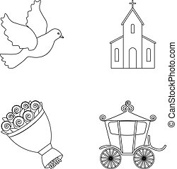 Pigeon, church, wedding bouquet, carriage. Wedding set collection icons in outline style vector symbol stock illustration web.