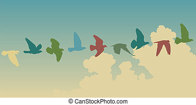Pigeon flight - Editable vector silhouettes of a pigeon...