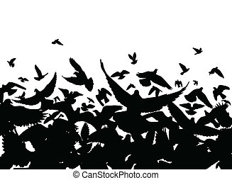 Pigeon flight - Vector foreground of a flock of pigeons with...
