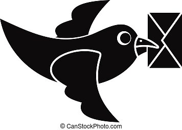 Pigeon fly with mail icon, simple style