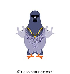 Pigeon gangster. Cool City bird. SWAG gangsta. Pigeon guy...