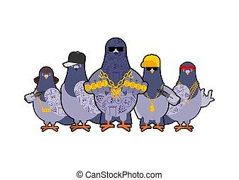 Pigeon gangster gang set. Cool City bird. SWAG gangsta....
