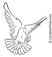 pigeon in brush stroke Vector Illustration