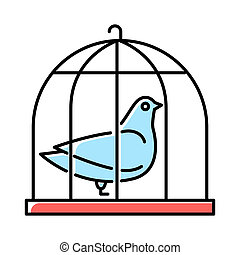 Pigeon in cage blue color icon. Captive bird. Harbinger of ...