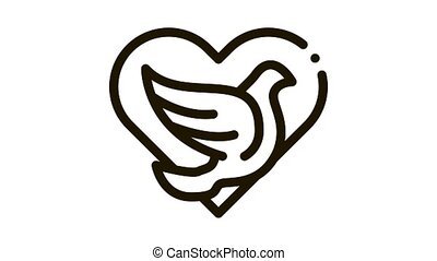 pigeon in center of heart Icon Animation. black pigeon in center of heart animated icon on white background