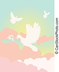 Pigeon in the Clouds - Simple dove silhouette in the clouds,...