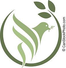 Pigeon Isolated Logo. - Peace Symbol. White Flying Bird ...
