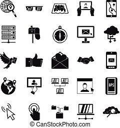 Pigeon mail icons set, simple style