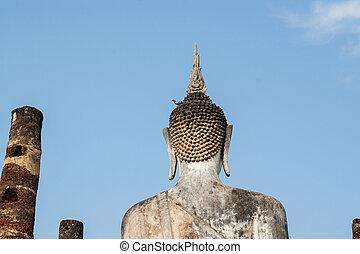 pigeon on the head of a Buddha