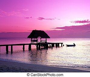 Pigeon Point at sunset, Tobago.