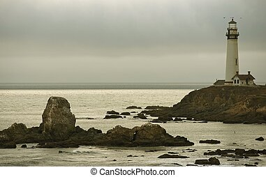 Pigeon Point Lighthouse - Pacific Shore of California, USA....