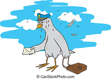 pigeon post - vector illustration of a paper plane flying to...