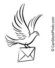 Pigeon postal letter.