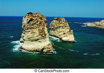 Landscape of the famous site of Pigeon Rocks in Beirut, Lebanon